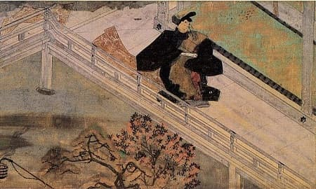 A man wearing traditional Japanese clothes walks through the palace. He holds a scroll.
