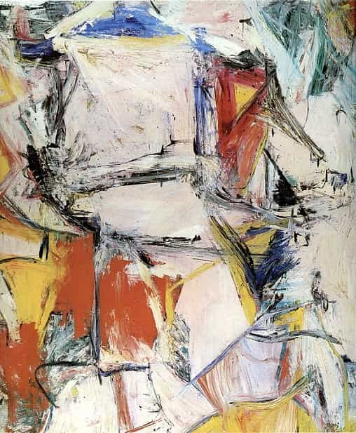 Abstract painting with geometric figures and lots of primary colors, plus light beige. Heavy brushwork.