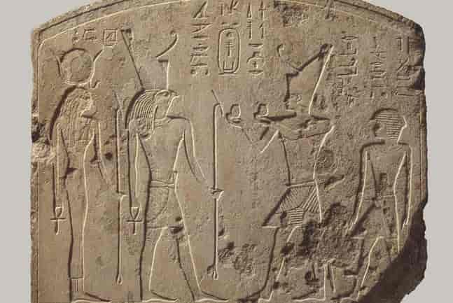 Pharaoh Shebitqo making donations to the goddess Hathor and Horus. 8th century BC.