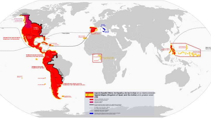 Map of the Americas showing most of North America and South America covered in red, as well as all of Central America and the Caribbean.