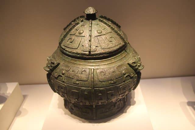 A bronze object found in Lady Fu Hao's tomb. Shang dynasty.